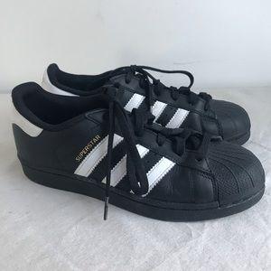 ADIDAS   Superstar Black Sneakers Big Kids 5
